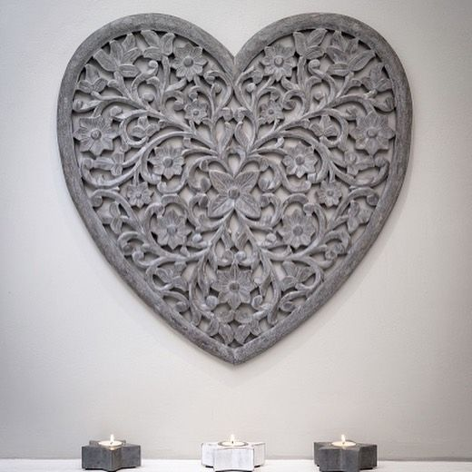 Beautiful Carved Grey Heart Wall Panel
