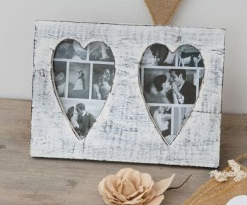 Wooden Distressed Double Heart Photo Frame WHITE