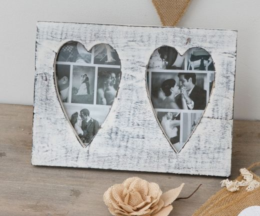 Wooden White Distressed Double Heart Photo Frame