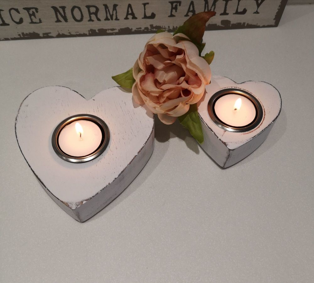 Set of Two White Heart Tea Light Holders