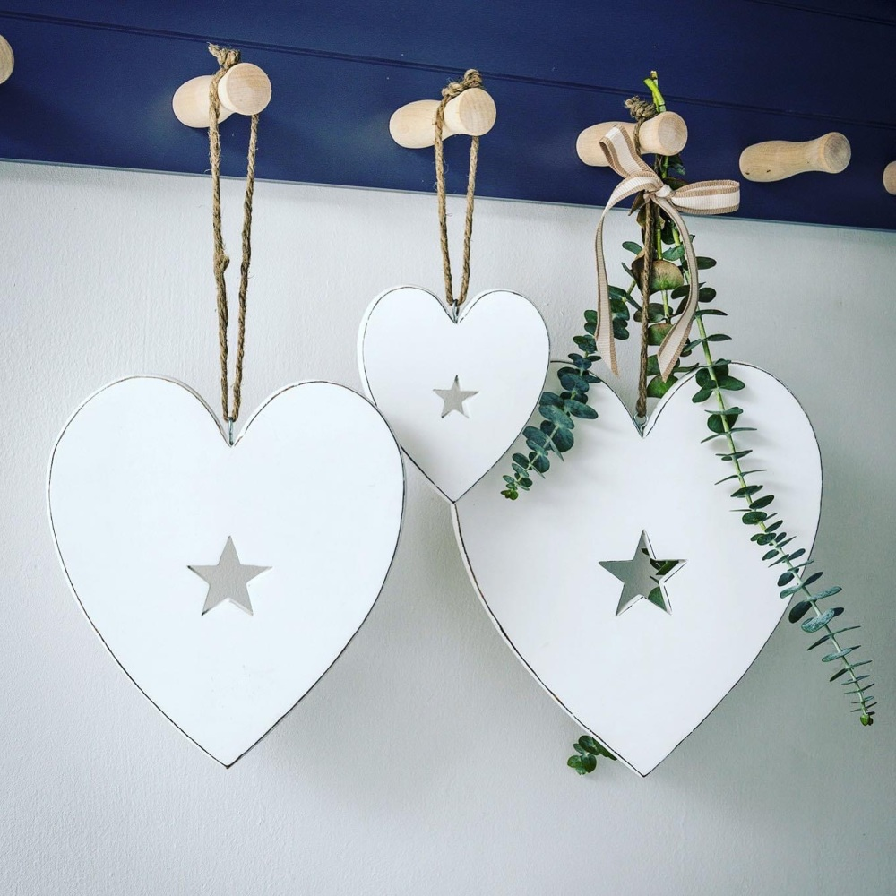 White Hearts with Star Detail