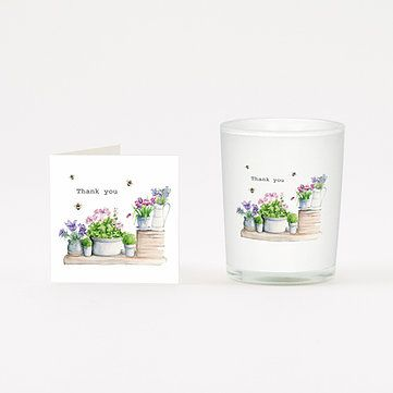 THANK YOU FLOWERS BOXED VOTIVE Candle and Card Gift