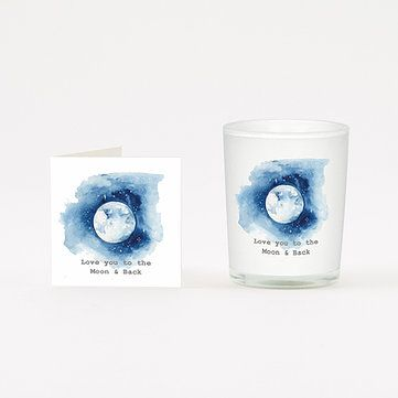 LOVE YOU To The MOON Candle and Card Gift  20cl