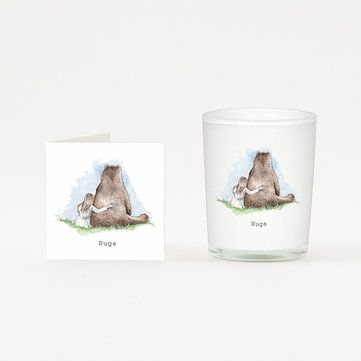 HUGS BEAR and GIRL Boxed Candle and Card Gift 20cl
