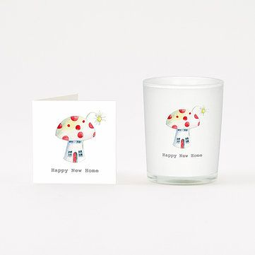 HAPPY NEW HOME TOADSTOOL BOXED VOTIVE Candle and Card Gift 9cl