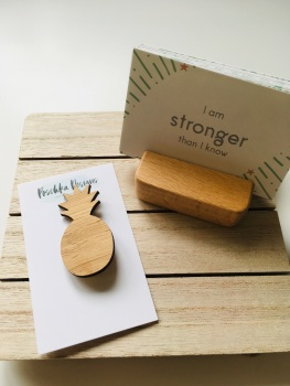 PositIVFity cards, holder and bamboo pineapple brooch