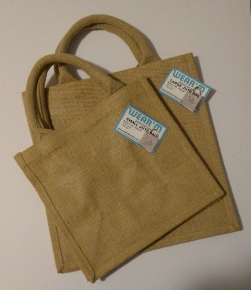 2 Plain Jute Bags to decorate Small and Medium