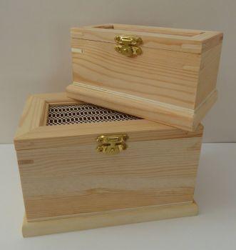 2 Mesh topped Pine boxes
