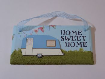 "Fun Caravan Plaque ""Home Sweet Home"" Blue"