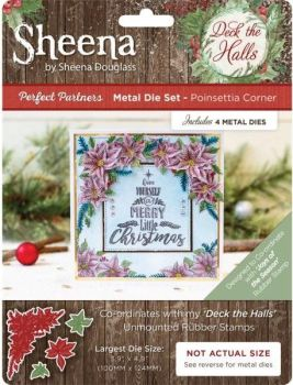 "Sheena Douglas ""Deck the Halls""  Joy of the Season Stamp and matching Die Poinsettia Corner"
