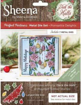 "Sheena Douglas ""Deck the Halls""  Peace and Joy Stamp and matching Die Poinsettia Delight"