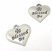 Blessed Be Heart Charms x 2