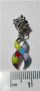 autism or aspergers awareness puzzle piece ribbon charm with bail