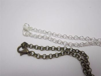 Belcher chain necklace in bronze or silver plate 24 inch