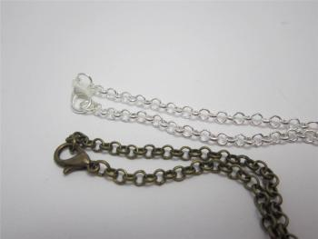 Belcher chain necklace in bronze or silver plate 18 inch