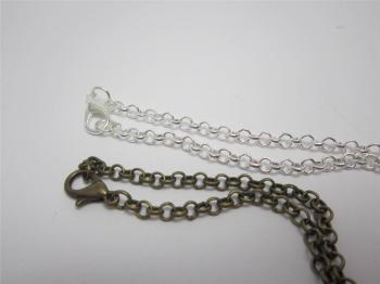 Belcher chain necklace in bronze or silver plate 20 inch
