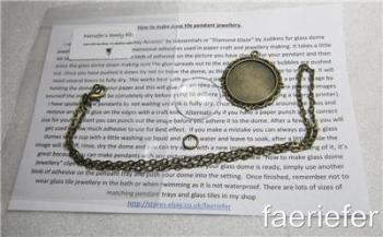 Bronze jewellery making kit glass dome pendant 1 inch