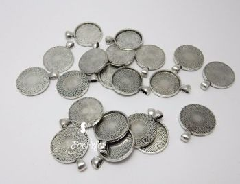 1 inch 25 mm round setting pendant bright silver or antique silver bulk pack of 25