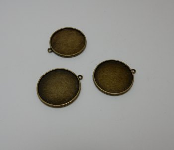 3 silver or bronze Tone double sided Cabochon setting frames round pendants 30 mm pictures