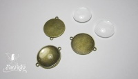 Bronze single sided pendant connectors with glass 25 mm