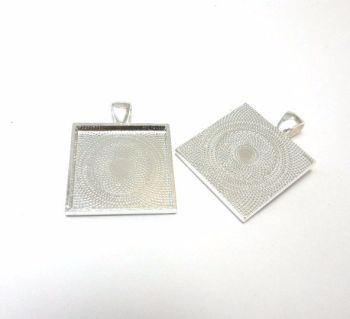 1 inch 25 mm square setting pendant bright silver