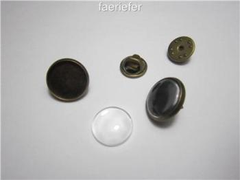 Bronze Round Cabochon Setting Brooches fit 14mm tie clutch pin back with glass