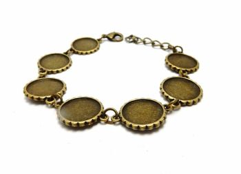 Bronze link bracelet blank setting for 16 mm round cabochon