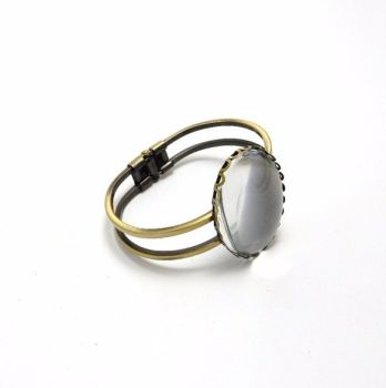 Bronze bangle blank setting 30 x 40 mm oval with glass 3, 5 or 10