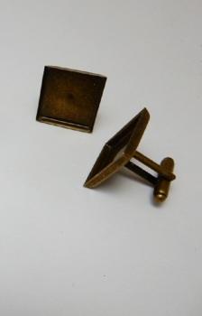 Square Bronze Cuff Link Bezels 18 mm