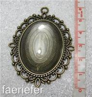 Large picture setting oval pendant frame + glass dome 30 x 40 mm choice of colour