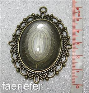 Large black cabochon setting oval pendant frame matching glass dome 30 x 40 mm