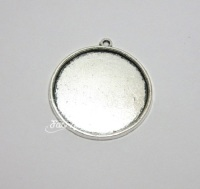 30 mm Silver tone round Cabochon setting frame pendants x 3