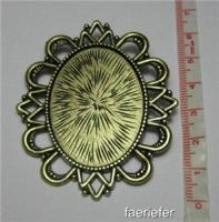 Large brooch pin back setting oval pendant frame for 30 x 40 mm cabochon bronze