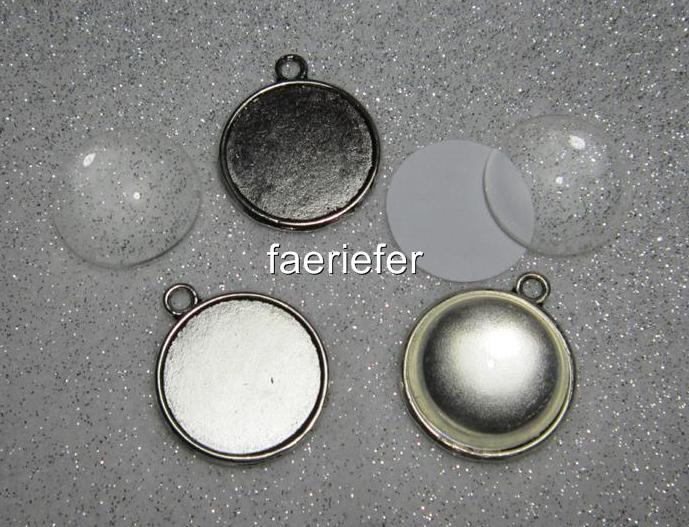 5 bronze Tone double sided Cabochon setting frames round pendants 14 mm pictures