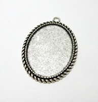 Rope edged setting oval pendant bezel blank to fit 30 x 40 mm silver or bronze