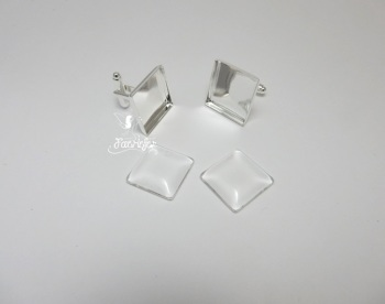 Square silver plated Cuff links with 16 mm glass