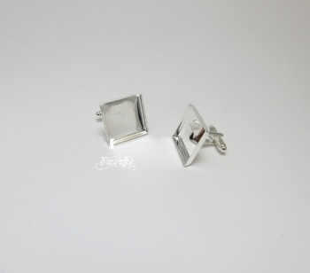 Square Silver Cuff Link Bezels 16 mm