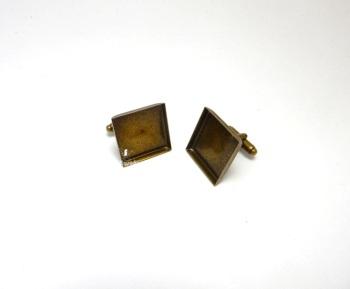 Square Bronze Cuff Link Bezels 16 mm