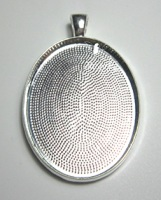 plain setting oval pendant bezel blank to fit 30 x 40 mm silver black or bronze