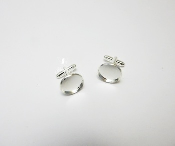 Cuff link blanks silver plated 16 mm