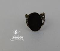 Bronze filigree adjustable oval ring blank setting