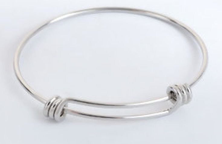 Stainless Steel Expandable Bangle Bracelet Round Silver Tone Adjustable Fro