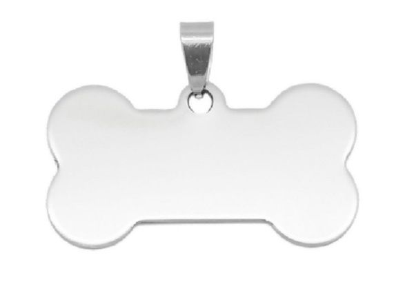 Stainless Steel Blank Stamping Tag Pendant Bone Silver Tone 29mm(1 1/8