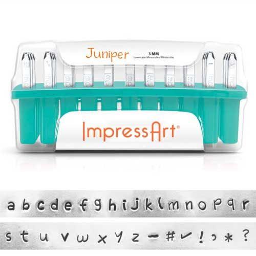 ImpressArt Juniper 3mm Alphabet Lower Case Letter Metal Stamp Set