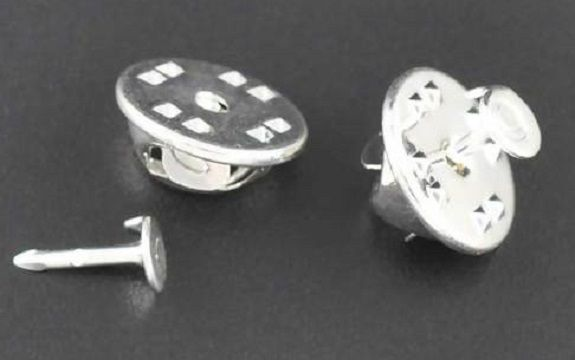 Tie Tac Lapel Pin Brooches Findings Silver Plated clutch squeeze back pack