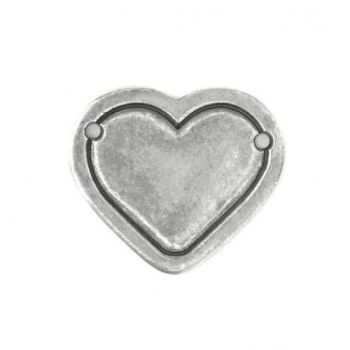 PEWTER STAMPING BLANK, HEART BORDER (Large) 29x25mm 1-1/8 x 1 - 16 GAUGE - PACK OF 1