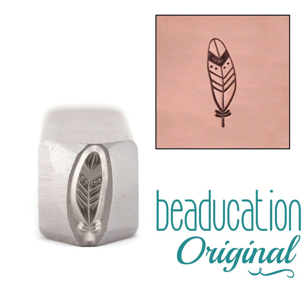 503 Large Hip Feather Beaducation Original Design Stamp
