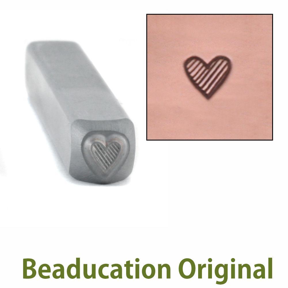 420 Tall Lined Heart Beaducation Original Design Stamp