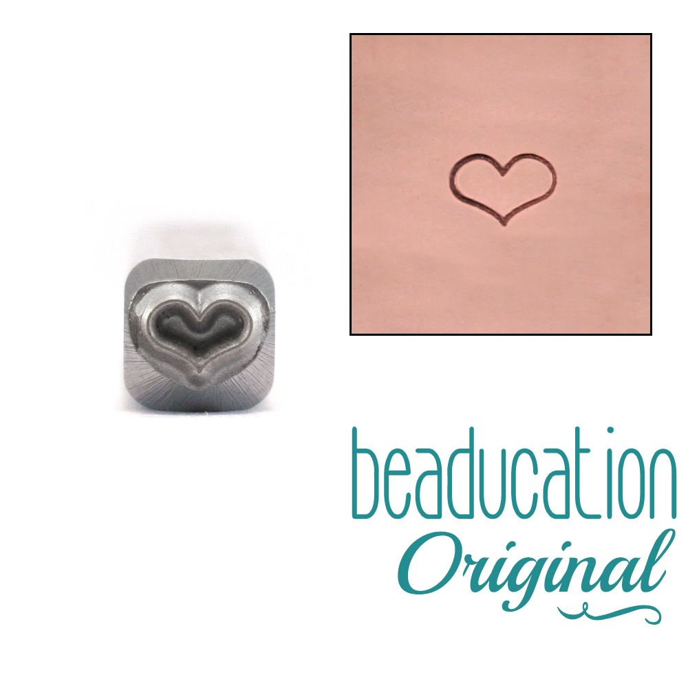 588 Fat Outline Heart  Beaducation Original Design Stamp
