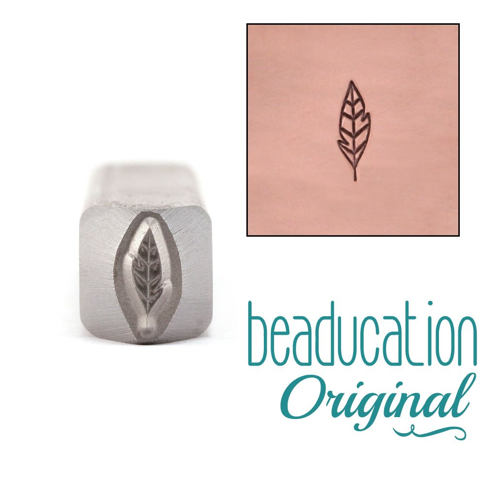 498 Small Leaf / Feather 7 mm Beaducation Original Design Stamp